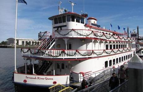 The River Street Riverboat Company docks on the Savannah River.